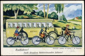 """Postkarte """"Radfahrer! Auch draußen hintereinander fahren!"""" von 1927"""
